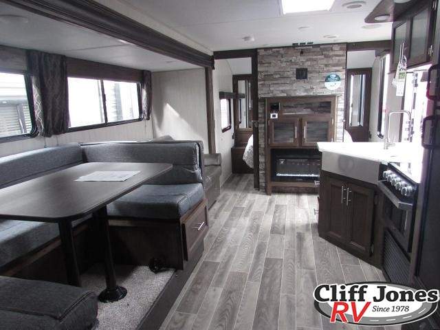 2019 Forest River Cherokee Grey Wolf 26DBH Travel Trailer Kitchen + Dinette + Living Space